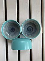 Салатник ,керамика,11.4 *5.5 см цвет бирюза с разводами