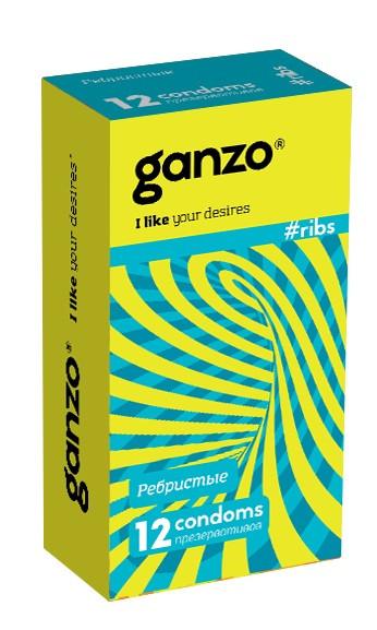 """Презервативы """"GANZO"""" RIBS №12 (анатомические, ребристые, с согревающей смазкой), 12 штук"""
