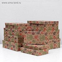 """Набор коробок 10 в 1 """"Совы ажурные крафт"""", 36,5 х 26,5 х 12 - 23 х 13 х 3 см"""