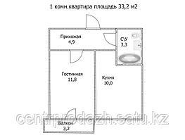 """1 ком в ЖК """"Самгау 2"""". 33.2  м²"""