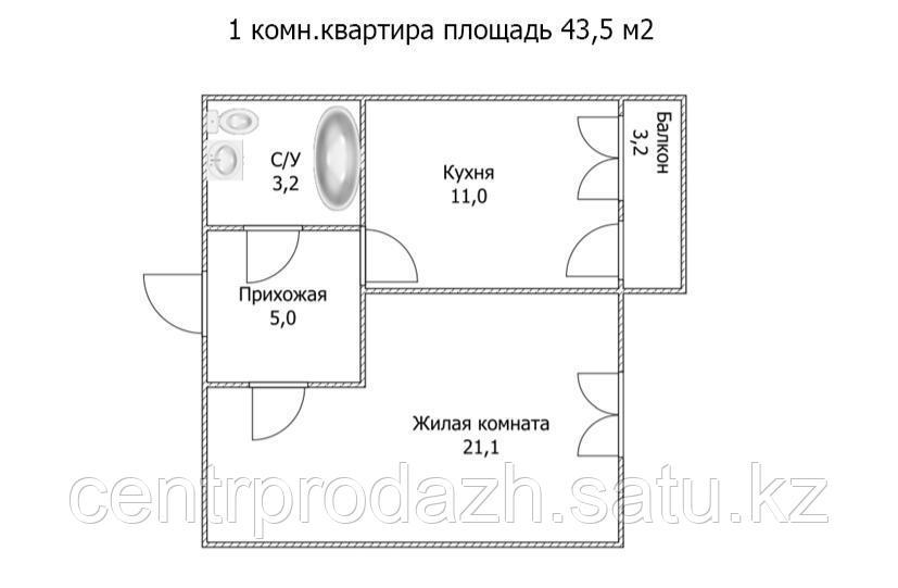 """1 ком в ЖК """"Самгау 2"""". 43.5  м²"""