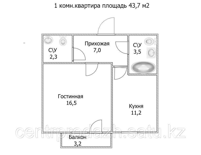 """1 ком в ЖК """"Самгау 2"""". 43.7  м²"""