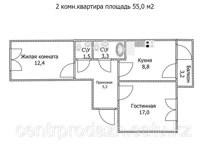 """2 ком в ЖК """"Самгау 2"""". 55 м²"""