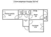 "2 ком в ЖК ""Самгау 2"". 55 м², фото 1"