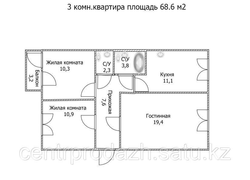 """3 ком в ЖК """"Самгау 2"""". 68.6 м²"""