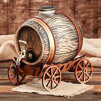 "Бочка для вина ""Телега"" 3.6 л, латунный кран"