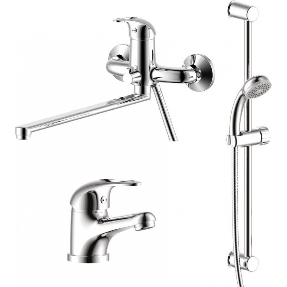Смесители Rossinka Silvermix SET 35-81, 3 в 1: для ванны+для раковины+душ.гарнитур