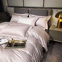 Комплект постельного белья двуспальный Vip Cotton с принтом маленьких сатиновых домиков
