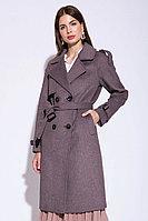 Пальто-тренч, прямой силуэт, 40-48, темное латте