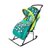 Санки коляска «Умка 3. Мишки», цвет изумрудный