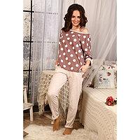 Комплект женский (джемпер, брюки), цвет бежевый, размер 52