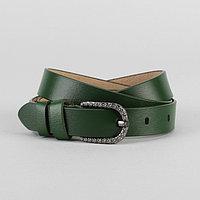 Ремень женский, гладкий, ширина - 3 см, пряжка тёмный металл, цвет зелёный