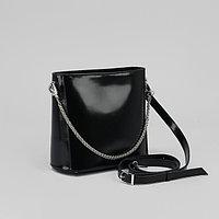 Сумка женская, отдел на молнии, наружный карман, цепь и длинный ремень, гладкий шик, цвет чёрный