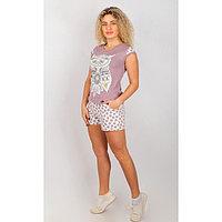 Комплект женский (футболка, шорты), цвет МИКС, р-р 52