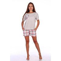 Костюм женский (футболка, шорты) «Патио», цвет серый/розовый, размер 52