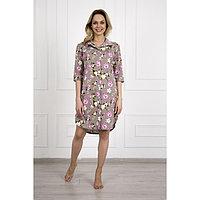 Платье-рубашка женское «Сакура», цвет коричневый/цветы, размер 60