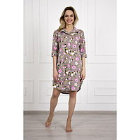 Платье-рубашка женское «Сакура», цвет коричневый/цветы, размер 54