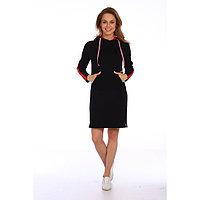 Платье женское, цвет чёрный/красный, размер 48