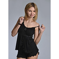 Пижама женская (топ, шорты) «АССОЛЬ», цвет чёрный, размер 42