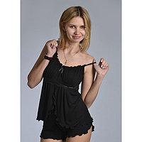 Пижама женская (топ, шорты) «АССОЛЬ», цвет чёрный, размер 52