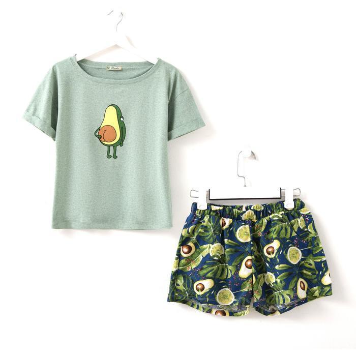 Костюм женский (футболка, шорты) «Лайм», цвет ментол, размер 52 - фото 1