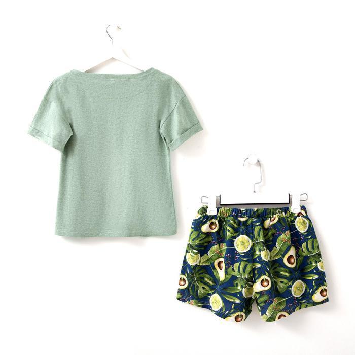 Костюм женский (футболка, шорты) «Лайм», цвет ментол, размер 52 - фото 4