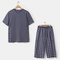 Костюм мужской (футболка, шорты), цвет серый, размер 54