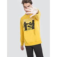 Свитшот мужской, цвет жёлтый/печать, размер 54 (XXL)