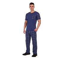 Костюм мужской (футболка, брюки) «Кавалер» цвет синий, размер 52