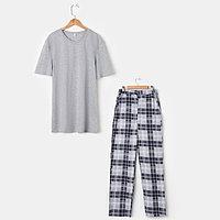 Костюм мужской «Влад» (футболка, брюки), цвет серый/клетка, размер 46