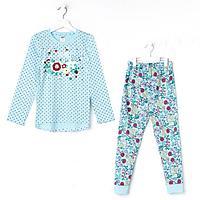 Пижама для девочки, цвет голубой, рост 104-110 (30) см