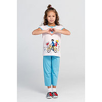Комплект (футболка, брюки) для девочки, цвет голубой/розовый, рост 110-116 см (32)