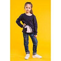 Джемпер для девочки MINAKU «Розовая лошадка», рост 116 122 см, цвет тёмно-синий
