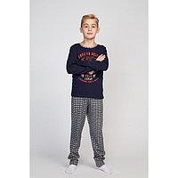 Пижама для мальчиков, тёмно-синий/клетка, рост 128-134 см