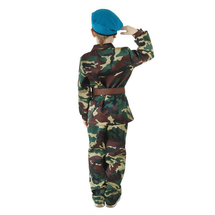 Карнавальный костюм «ВДВ», китель с манишкой, брюки, берет, ремень, р. 32, рост 128 см - фото 2