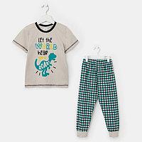 Пижама детская, цвет бежевый/клетка, рост 122 см