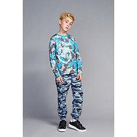 Джоггеры для мальчика на поясе, цвет камуфляж, рост 128-134 см