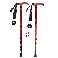 Палки для скандинавской ходьбы, телескопическая, 4 секции, до 135 см, (пара 2 шт), цвета МИКС