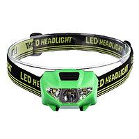 Фонарик налобный, 3 LED, 2 типа освещения, 3 режима, 3 ААА, микс, 4.5х6 см