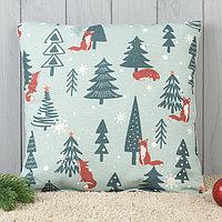 Подушка декоративная с фотопечатью «Зимний лес» 40х40 см
