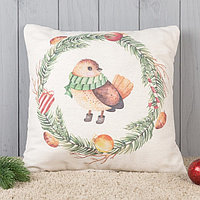 Подушка декоративная с фотопечатью «Зимняя пташка» 40х40 см