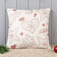 Подушка декоративная с фотопечатью Новогодняя абстракция 40х40 см, хл. 34%, полиэфир 66%