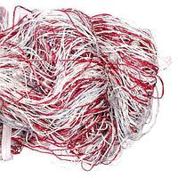 Штора-лапша веревочная «Кисея-занавес из нитей» {3 x 3 метра} (Белый с красным / с бусинами)