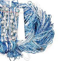 Штора-лапша веревочная «Кисея-занавес из нитей» {3 x 3 метра} (Голубой с белым / с бусинами)