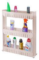 Этажерка выдвижная трехъярусная на колесиках для бутылок FIT (Молочный)