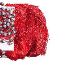 Штора-лапша веревочная «Кисея-занавес из нитей» {3 x 3 метра} (Красный / с бусинами)
