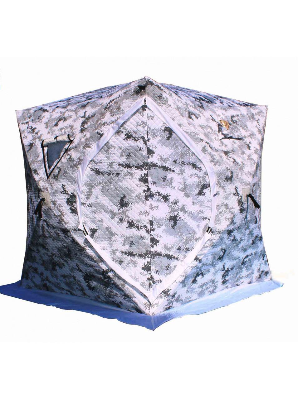 """Палатка Куб """"CONDOR"""" зимняя утепленная 1,7 х 1,7 х 1,95 белый КМФ цифра JX-0129"""