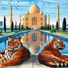 "Картина стразами на подрамнике (50х60 см)""Тигры и Тадж Махал"" MYL-266"