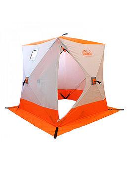 Палатка зимняя куб СЛЕДОПЫТ 1,5 х1,5 м, Oxford 210D PU 1000, 2-местная, цв. бело-оранж. PF-TW-09
