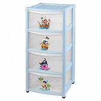 Детский пластиковый комод Бытпласт на колесах 4 ящика голубой